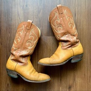 Nocona Boots Leather Cowboy Boots Two Tone Men's 9